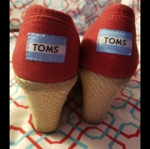 Toms Shoes - ❤Red Espadrille Tom's Peeptoe Wedges. Size 7 ❤